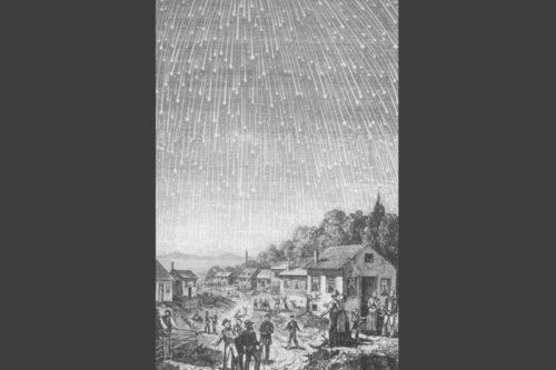 1833年のしし座流星群の大出現の版画
